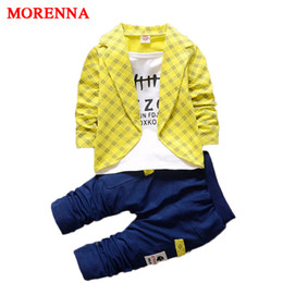 Wholesale 4t Pants - MORENNA 2017 New Baby Boy Formal Clothing Suit Long-sleeved Plaid Fake + Pants Two Pieces Children's Infant Clothes Suit