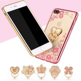 Wholesale Metal Flower Stands Wholesale - For iphone8 7 6plus 5S case Luxury Bling Flower plating Soft TPU Phone phone case +Finger Ring Grip Stand back cover for Samsung S7 S8 plus