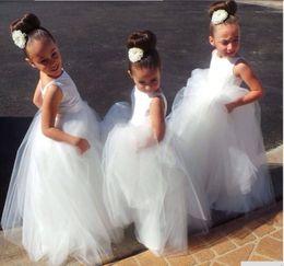 Wholesale Hot Girl Open - Pretty White Tulle Open Back Cheap Price Flower Girl Dresses Hot Sale Vestido de Daminha Floor Length Wedding Party Gown HY1195