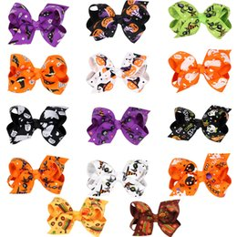 Wholesale Purple Silver Ribbon - NEW!!!14 style Halloween barrettes hair accessories 8*4cm Grosgrain ribbon bowknot hair clips accessories grosgrain with alligator clips
