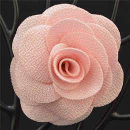 Wholesale White Flower Pins Brooches - L size Cheap Fashion Solid color Flower Brooch lapel Pins handmade Boutonniere Stick fabric Camellia for Gentleman suit wear lady Accessory
