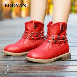 Wholesale Korean Ankle Boots Free Shipping - Army Boot Martin Ankle Boots 2017 New Autumn Korean Rivet Girl Boy Shoes Genuine Leather High Quality Soft Bottom Free Ship K394
