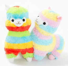 Wholesale Animal Sheep Plush - Rainbow Alpacasso Plush 13CM Cute Kawaii Alpaca Soft Plush Sheep Stuffed Animals Plush Toys Kids Doll Gift OOA3082