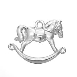 Wholesale Wooden Horse Animals - My Shape Vintage Wooden Horse Charm Zinc Alloy Silver Plated Animal Charms For Necklace And Bracelet