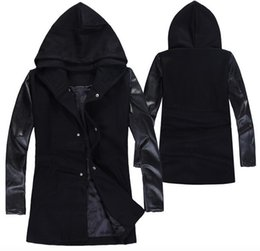Wholesale Gothic Winter Jacket - Fall-Mens Hooded Leather Trench Coat Patchwork Overcoat Wool Coat Plus Size 5XL Winter Korean Harajuku Double Breasted Jacket Gothic