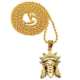Wholesale Hiphop Masks - Hiphop Necklace 18K Yellow Gold Plated Masked the statue of liberty Pendants Snake Necklace men women Hip Hop Jewelry accessory