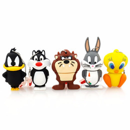Wholesale Cartoons Pendrive 4gb - Cartoon Bear Daffy Duck Bugs Bunny Cat Tweety Bird USB 2.0 Flash Drive U Disk Animal Pendrive Memory Stick Gift 1GB 8GB 16GB