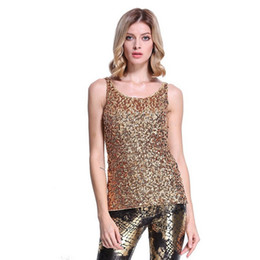 Wholesale Ladies Sequin Tank Tops - Women's Shimmer Glam Sequin Embellished Sparkle Vest Top Sleeveless Crew Neck T Shirt Tank Top for Ladies