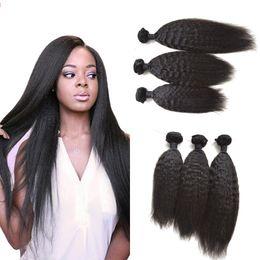 Wholesale Straight Virgin Brizilian Hair - 3bundles Brazilian Virgin Hair Kinky Straight 100% human hair 8-30inch unprocessed brizilian coarse yaki virgin hair G-EASY