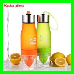 Wholesale 650ML Frosted Plastic Lemon Bottles Cups Leak proof Water Cups Bottles H2O Portable Sports Water Bottle For Outdoor Sport Running Camping