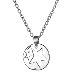 Wholesale Little Girls Gold Necklace - Silver Tone Two Stars in Circle Pendant Love Star Necklace Jewelry Gift for Little Girls
