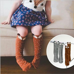 Wholesale Hot Girls Stockings - HOT Kids Lovely 3D Knee High Fox socks high quality infant Baby Boy Girl Leg Warmers stocking suitable for 0-4Y Cotton Animal image