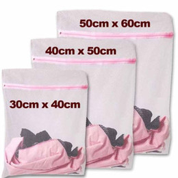 Wholesale Laundry Net Fabric - 3pcs lot Clothes Washing Machine Laundry Bra Aid Lingerie Mesh Net Wash Bag Pouch Basket femme 3 Sizes JS0019