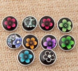 Wholesale Button Jewerly - 100Pcs Mix Style Flowers 12mm Button NOOSA Ginger Snap Charms Jewelry Interchangeable Jewerly Charms Pendants Necklace 2016 Charms