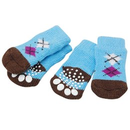 Wholesale Pet Acrylic - Wholesale-SYB 2016 NEW 4 PCS Pet Puppy Dog Soft Blue Brown Warm Kniting Socks