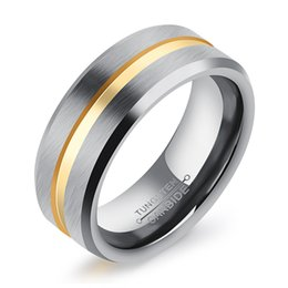 Wholesale Gold Comfort Fit Wedding Band - ZHF JEWELRY 8mm Unisex men women tungsten rings gold plated jewelry wedding engagement band rings beveled comfort fit WJ244
