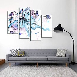 Wholesale Chinese Art Canvas - Modern Unframed 4 Piece Canvas Art Picture Panel Chinese Ink Wash Painting Printed Decor Canvas Photo for Living Room