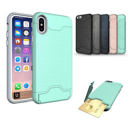 Wholesale Pocket Pc Wallet - Phone case for iphone X iphone 8 7 6 6s plus S8 plus s7 soft TPU +PC Hybrid Armor holder Protective cover card slot cases stand GSZ400