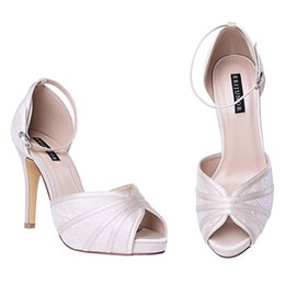 Wholesale Kids Prom Shoes - Beautiful, generous and elegant ,Women's High Heel Sandals Lace Satin Ankle Strap Evening Party Prom Wedding Shoes