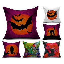 car gift decoration Coupons - Pillow Case Decoration Halloween Bat Owl Printing Printed Decorative Cushion Cover Pillowcase Sofa Home Decor Square Throw Ornament Gift Car