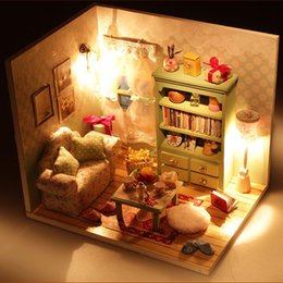 Wholesale Doll House Sofa - Kids Toys Kits DIY Wood Dollhouse Sofa Miniature With LED+Furniture+cover Doll house Toys Gift