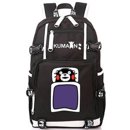 Wholesale cartoon mascot boy - Kumamon backpack Mascot canvas daypack Anime bear schoolbag Cartoon rucksack Sport school bag Outdoor day pack