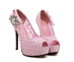 Argentina 2016 Nuevo Estilo Princesa Sandalias Estilo Coreano Diamante Artificial Zapatos de Tacón Ultra Alto Peep Toe Zapatos de Boda Suministro