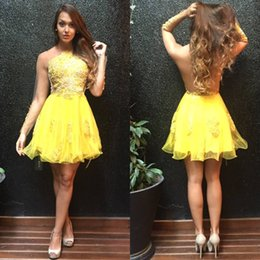 Wholesale Junior Long Sleeve Cocktail Dresses - Yellow Homecoming Dresses 2017 Sheer Long Sleeves Appliques Backless Ruffles Short Cocktail Dress Sweet Party Graduation Dress for Juniors