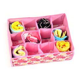 Wholesale Storage Box For Socks - 12 Grid Bag Nonwoven Fabric Storage Box Folding Box for bra socks CM Organizer underwear storage box fabric printing