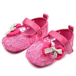 Wholesale Girls Mary Jane Shoes - Newest Summer Soft Sole Baby Mary Jane Shoes Size Fretwork Lace Air Mesh Ribbon Bows Pu Leather Straps Infant Toddler First Walking Flats