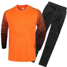 Wholesale Goalkeeper Long Sleeve - ^_^ Wholesale kids Goalkeeper soccer jersey long sleeve goalie customize name number top quality soccer uniforms football jersey pants