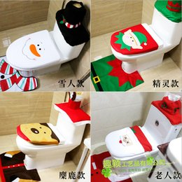 Wholesale Hotel Suits - Toilet Seat Set Practical Three Piece Suit Santa Claus Fashion Hotel Bathroom Decoration Four Style Select 16 5qy F R