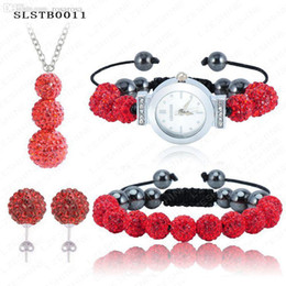 Wholesale Disco Pave Watch - Wholesale-Sale New Shamballa Set Watch Bracelet Earring Necklace Micro Pave CZ Disco Balls Crystal Sets Mix Colors Options SLSTBmix2