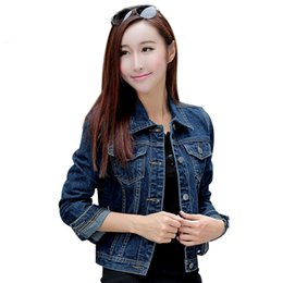 bf47937fc5a Women Denim Short Jackets Autumn Casual Blue Slim Pockets Button Single  Breasted Female Jeans Coat Big Size XL