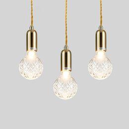 Wholesale Hanging Crystal Glass - Modern Golden Glass Crystal Bulb Dining Room Pendant Lights Balcony Corridor Crystal Pendant Lamp Restaurant Porch Hanging Lighting Fixtures