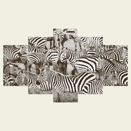 Wholesale Zebra Print Decorations - (No frame) A zebra one series HD Canvas print 5 Panel Wall Art Oil Painting Textured Abstract Pictures Decor Living Room Decoration