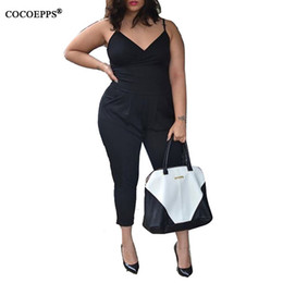 Wholesale Womens Fashion Harness - Wholesale- 2017 Plus Size womens Sexy Bodycon Jumpsuits rompers Harness big size Casual Patchwork body suits Overalls Playsuits bodysuits