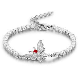 Wholesale White Gold Bangle Butterfly - 5pcs Lot Fashion Butterfly Bracelets Bangle For Women 2mm Cubic Zircon Silver Color Love Blacelets Bangles