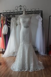 Wholesale Cheap Sexy Halter Wedding Dress - 2017 Venice Lace Bridal Wedding Dress Stock Cheap Ivory White Beading Sash Lace Formal Gowns Real Photos Jewelry Neck Bridal Dresses MG6186