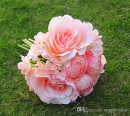 Wholesale Silk Champagne Bridal Bouquets - 2016 High Quality Bridal Wedding Bouquets Champagne Wedding Decoration Artificial Bridesmaid Flower Pearls Roses Cheap In Stock