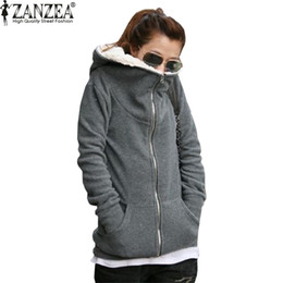 Wholesale Womens Thick Hoodies - Wholesale- ZANZEA 2017 Womens Autumn Winter Warm Coat Thick Fleece Cotton Zip Up Hoodies Sweatshirt Jacket Hooded Outerwear Plus Size