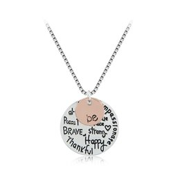 """Wholesale Happy Friends - 2016 Hot sell """"Be"""" Graffiti Friend Brave Happy Strong Thankfull Charm Pendant Necklaces Jewelry Women free shipping"""