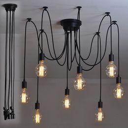 Wholesale Vintage Art Deco Chandelier - Hardwired Vintage Soft Pendant Light Edison Industrial Chandelier Art Pendant lamp 6 8 10 12 14 16 Heads #01