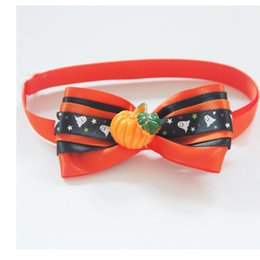Wholesale Wholesale Bow Ties For Dogs - Halloween Pumpkins Pet Ties Puppy Small Dog Bow Ties Pet Cat Bowties Collar for Hallowmas Party Grooming Accessories 20 to 36cm