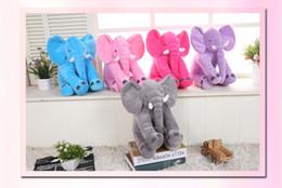 Wholesale Sleeping Body - 5 Color Elephant Pillow baby doll children sleep pillow birthday gift INS Lumbar Pillow Long Nose Elephant Doll Soft Plush 60*45*25cm