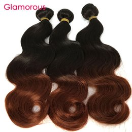 Wholesale Peruvian Big Waves Extensions - Glamorous Ombre Brown Hair Weft Peruvian Malaysian Indian Brazilian Straight Body Wave Hair 3 Bundles 100% Human Hair Extensions Big Deals