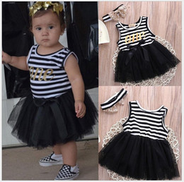 Wholesale Girls Hair Net Band - 2016 New Baby Girl Stripe Dress Cute Girls Lace Net Yarn Stitching Dresses With Hair Band Infant Toddler Summer Sleeveless Vest Dress