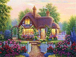 Wholesale Villa Paintings - 2016 Arrival diy Diamond Painting Cross Stitch Kit Set full round Embroidery Rhinestone Home Decor scenery Villa 079 free shiping