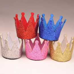 Wholesale Handmade Crown Baby - 120pcs lot 5colors Newborn Mini Felt Baby Crown For Girls Hair Accessories Handmade Glitter Felt Crown For First Birthday Hat