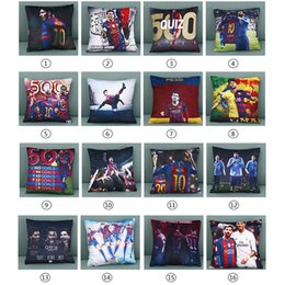 Wholesale Real Madrid Case - New Two-color Real Madrid Messi Football Pillow Case Personality Square Cushion Sofa Car Livingroom Bedroom Pillow Covers 45*45cm WX-P20